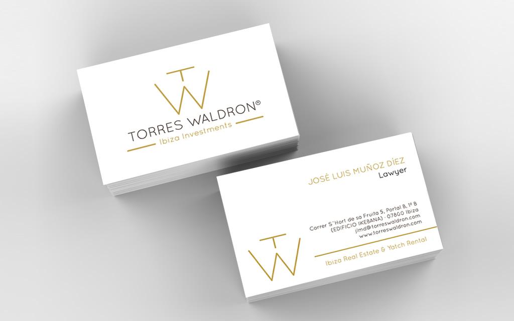 Diseño tarjetas Torres Waldron