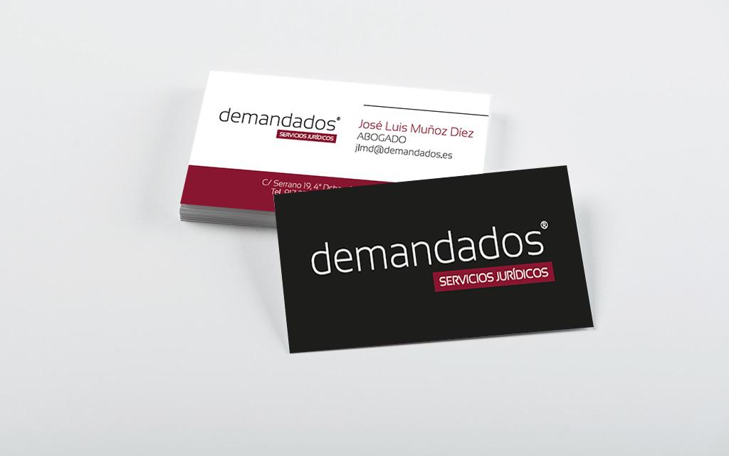 Diseño tarjetas corporativas Demandados